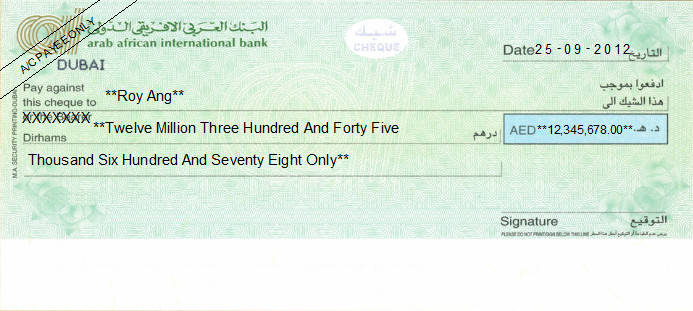 Printed Cheque of AAIB - Arab African International Bank in UAE