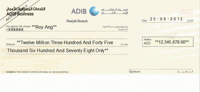Printed Cheque of Abu Dhabi Islamic Bank (ADIB Business) in UAE