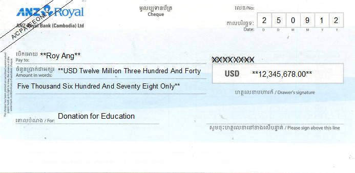 Printed Cheque of ANZ Royal Bank (USD) in Cambodia