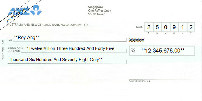 Printed Cheque of ANZ (Australia and New Zealand Banking Group) Singapore
