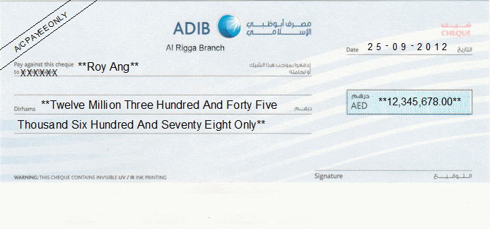 Printed Cheque of Abu Dhabi Islamic Bank (ADIB Personal) in UAE