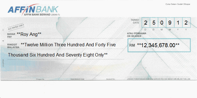 Printed Cheque of Affin Bank in Malaysia
