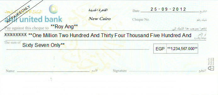 Printed Cheque of Ahli United Bank in Egypt