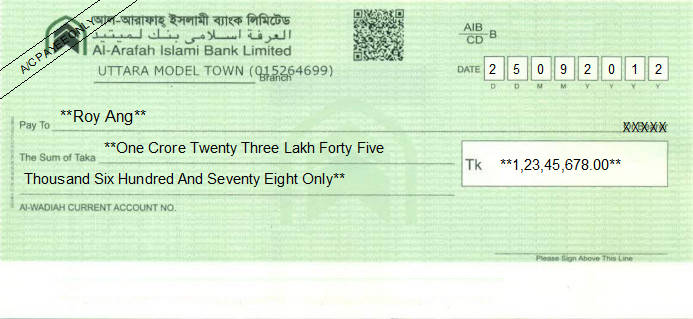 Printed Cheque of Al-Arafah Islami Bank in Bangladesh