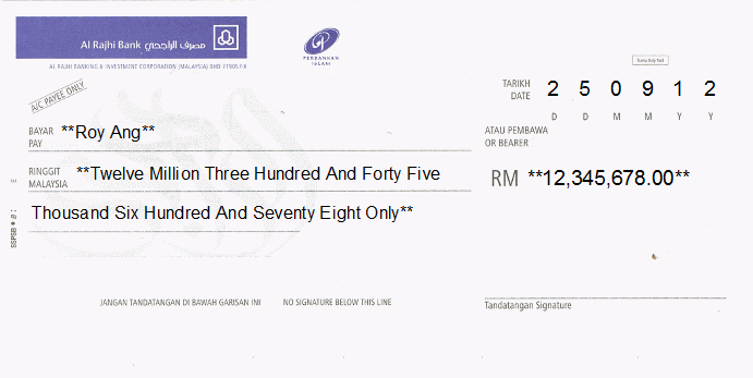Printed Cheque of Al Rajhi Bank in Malaysia