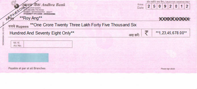 Printed Cheque of Andhra Bank India