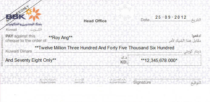 Printed Cheque of Bank of Bahrain and Kuwait - BBK in Kuwait