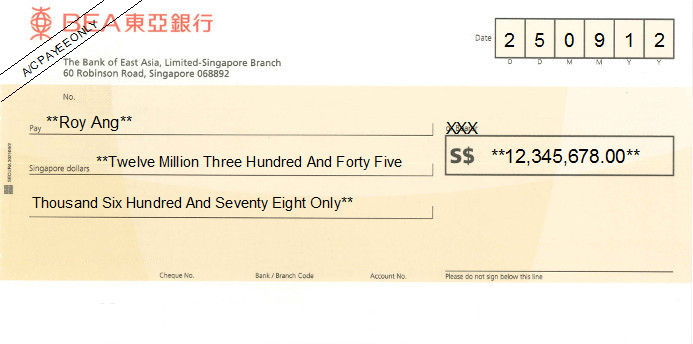 Printed Cheque of BEA (The Bank of East Asia) Singapore