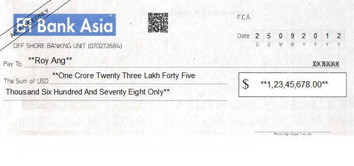 Printed Cheque of Bank Asia (USD) in Bangladesh