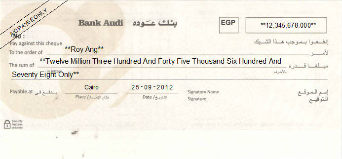 Printed Cheque of Bank Audi in Egypt