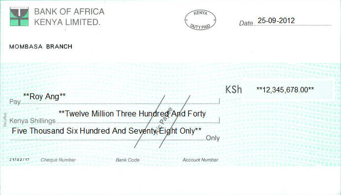 Printed Cheque of Bank of Africa in Kenya