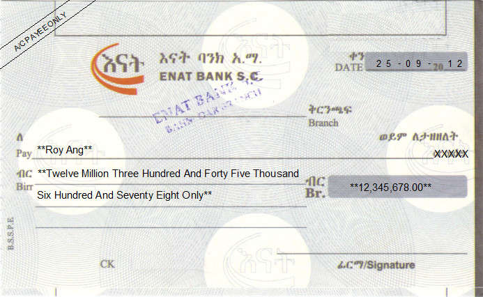 Printed Cheque of Enat Bank in Ethiopia