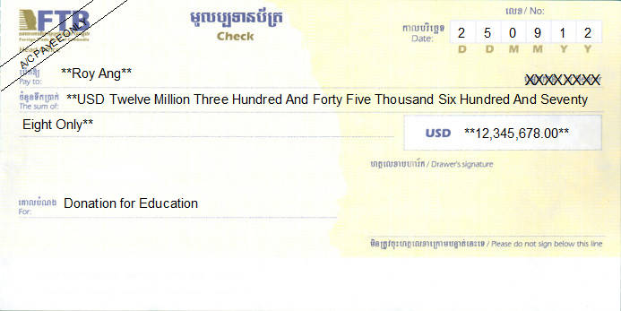 Printed Cheque of FTB - Foreign Trade Bank of Cambodia (USD) in Cambodia