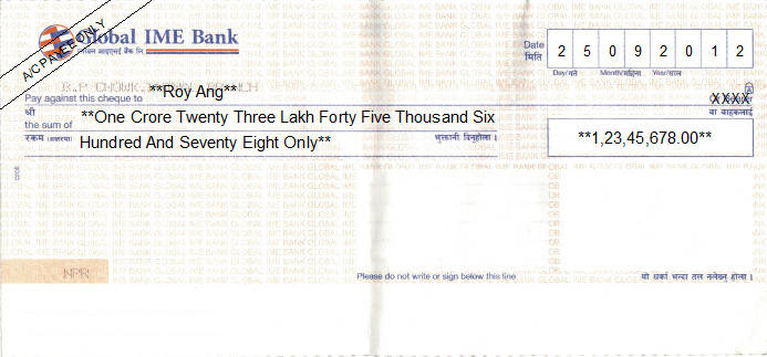 Printed Cheque of Global IME Bank in Nepal