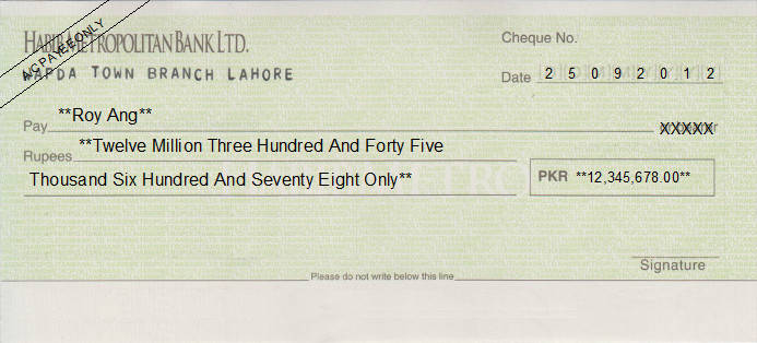 Printed Cheque of Habib Metropolitan Bank Pakistan