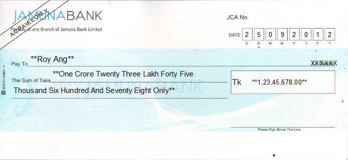 Printed Cheque of Jamuna Bank in Bangladesh