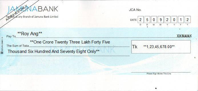 Printed Cheque of Jamuna Bank in Bangladesh