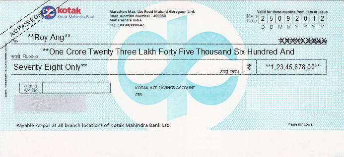 Printed Cheque of Kotak Mahindra Bank (Ace Savings Account) in India