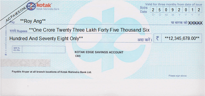Printed Cheque of Kotak Mahindra Bank (Edge Savings Account) in India