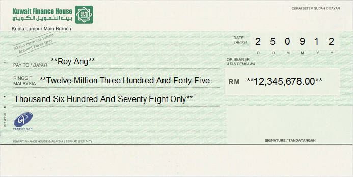 Printed Cheque of Kuwait Finance House in Malaysia