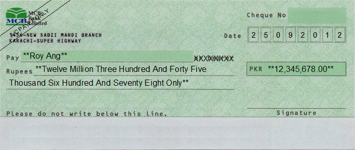 Printed Cheque of MCB Bank Pakistan