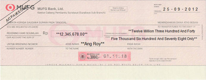 Printed Cheque of MUFG Bank in Indonesia