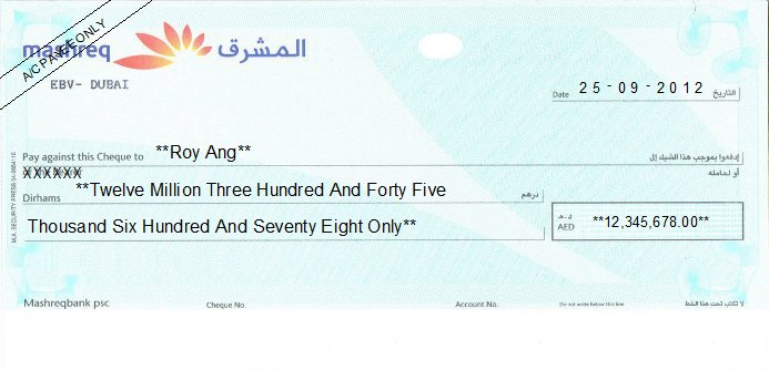 Printed Cheque of Mashreq Bank UAE
