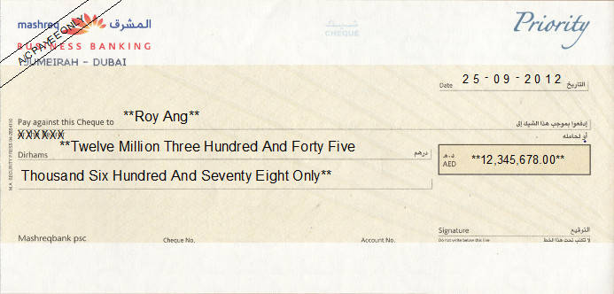Printed Cheque of Mashreq Business Banking (Priority) in UAE