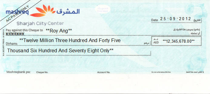 Printed Cheque of Mashreq Bank (Personal) in UAE