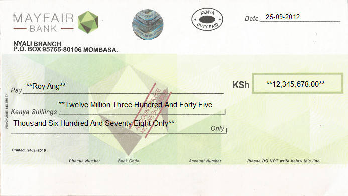 Printed Cheque of Mayfair Bank in Kenya
