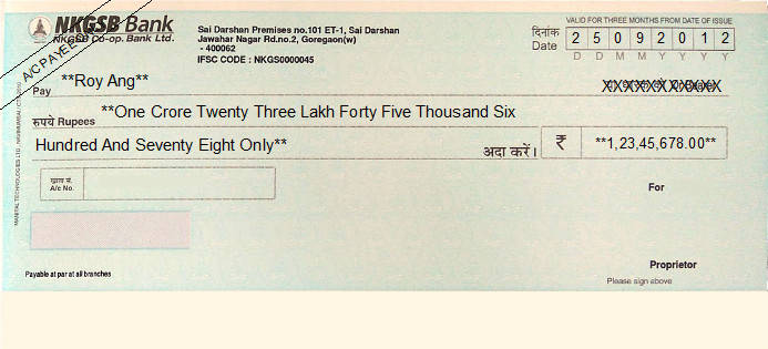 Printed Cheque of NKGSB Co-op. Bank in India