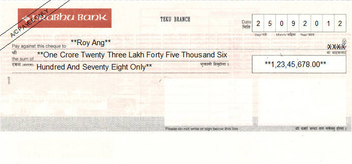 Printed Cheque of Prabhu Bank in Nepal