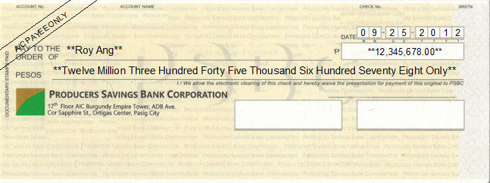 Printed Cheque of Producers Savings Bank Corporation Philippines