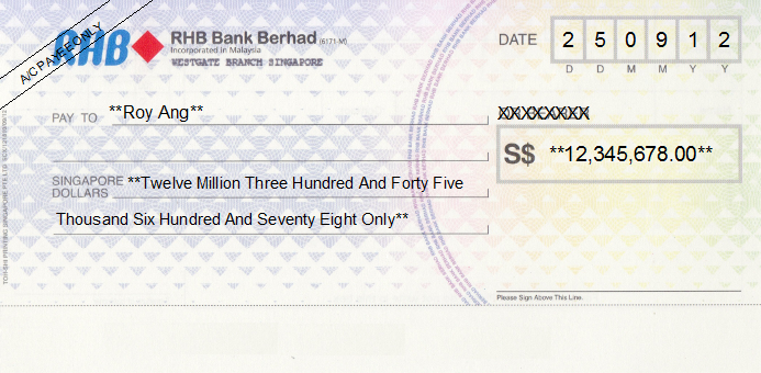Printed Cheque of RHB Bank Singapore