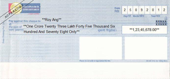 Printed Cheque of Rastriya Banijya Bank in Nepal
