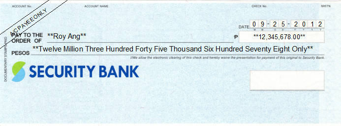 Printed Cheque of Security Bank Philippines