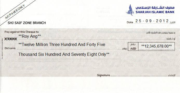 Printed Cheque of Sharjah Islamic Bank UAE