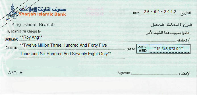 Printed Cheque of Sharjah Islamic Bank (Personal) UAE