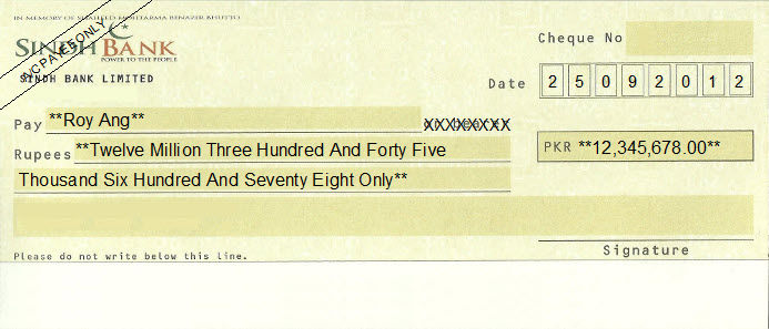 Printed Cheque of Sindh Bank Pakistan