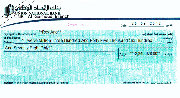 Printed Cheque of Union National Bank UAE